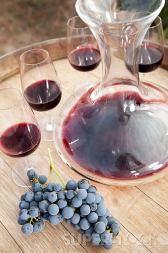 Red wine and grapes Stock Photo 1598R-11846450 : Superstock