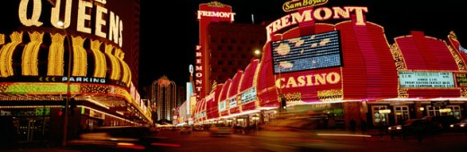 Stock Photo: 1007-219G Neon signs lit up at night, Las Vegas, Nevada, USA