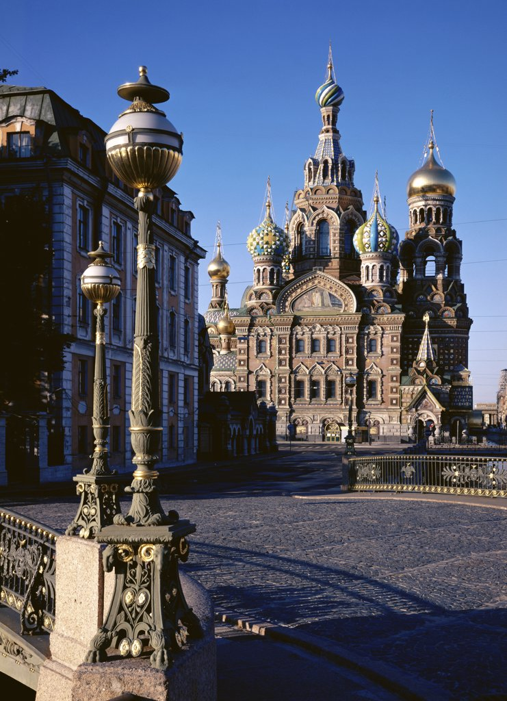 Stock Photo: 1009-176 Facade of a church, Church of Our Savior on the Spilled Blood, St. Petersburg, Russia