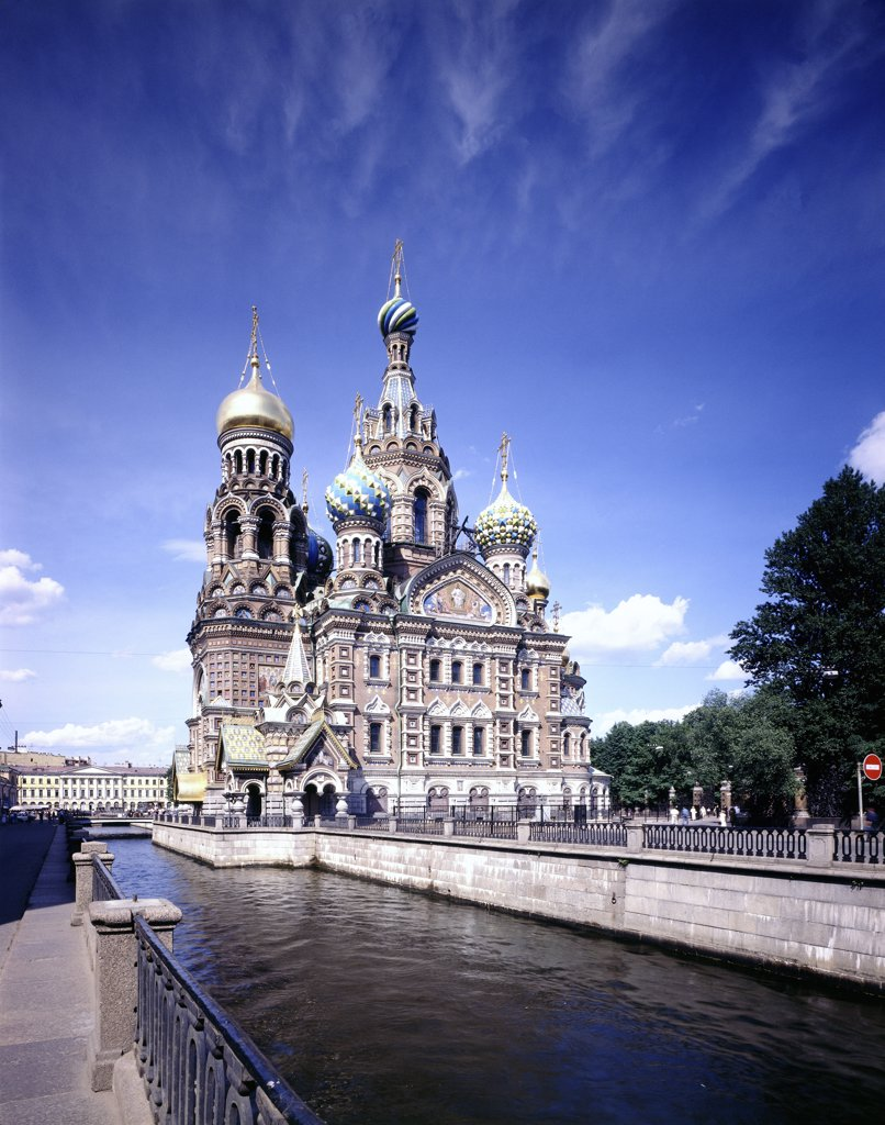 Church at the waterfront, Church of Our Savior on the Spilled Blood, St. Petersburg, Russia : Stock Photo