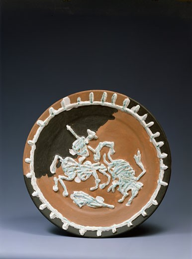 Horseman and Bull by Pablo Picasso, painted ceramic, 1881-1973 : Stock Photo