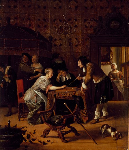 Stock Photo: 1009-6134 A Game of Backgammon by Jan Steen, oil on wood panel, 1667, 1626-1679, Russia, St. Petersburg, Hermitage Museum