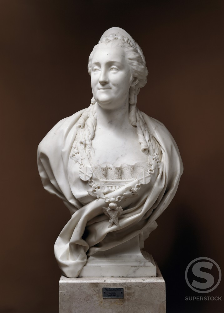 Stock Photo: 1009-6189 Catherine the Great Jean-Antoine Houdon (1741-1828/French)  Marble Sculpture  Hermitage Museum, St. Petersburg