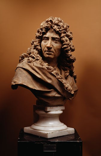 Stock Photo: 1009-6201 Portrait Of Minyar Antoine Coysevox (1640-1720 French) Sculpture State Hermitage Museum, St. Petersburg, Russia