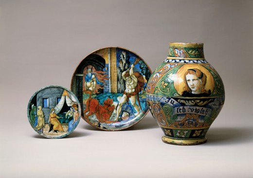 Stock Photo: 1009-6205 Majolica Plates & Jar 16th C. Italy Antiques State Hermitage Museum, St. Petersburg, Russia