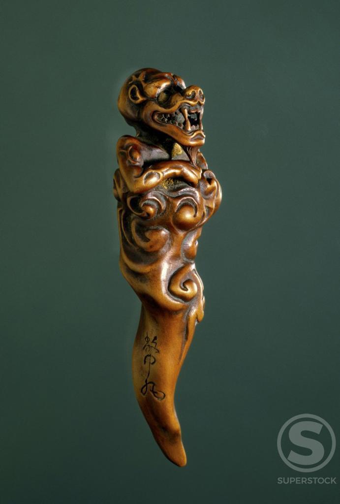 Demon Wood Sculpture  Japanese Art  Hermitage Museum, St. Petersburg : Stock Photo