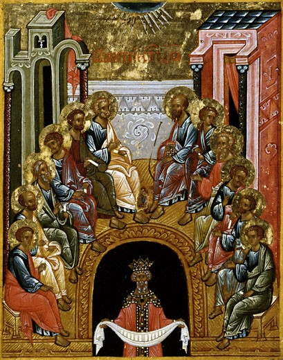 The Descent of the Holy Spirit End of 15th Century Artist Unknown Icon Cathedral of St. Sophia Novgorod, Russia Tempera on canvas : Stock Photo