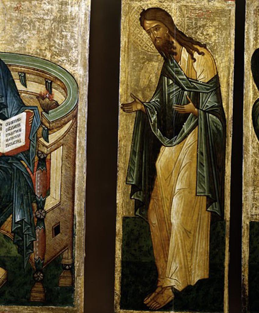 St. John the Forerunner Artist Unknown Icon Novgorod, Russia Tempera on wood : Stock Photo