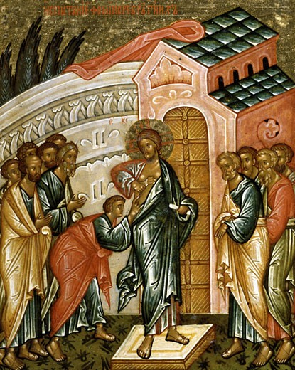 Stock Photo: 1009-6418 The Believed Thomas End of 15th Century Artist Unknown Icon Cathedral of St. Sophia Novgorod, Russia Tempera on canvas