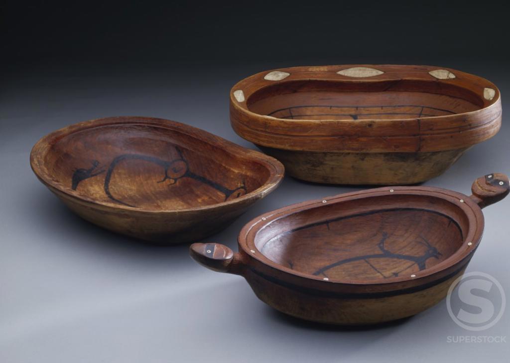 Wooden bowls, Northern Canadian Eskimo, Eskimo art : Stock Photo
