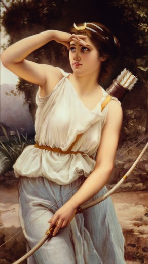Diana the Huntress, painted porcelain plaque by unknown German artist : Stock Photo