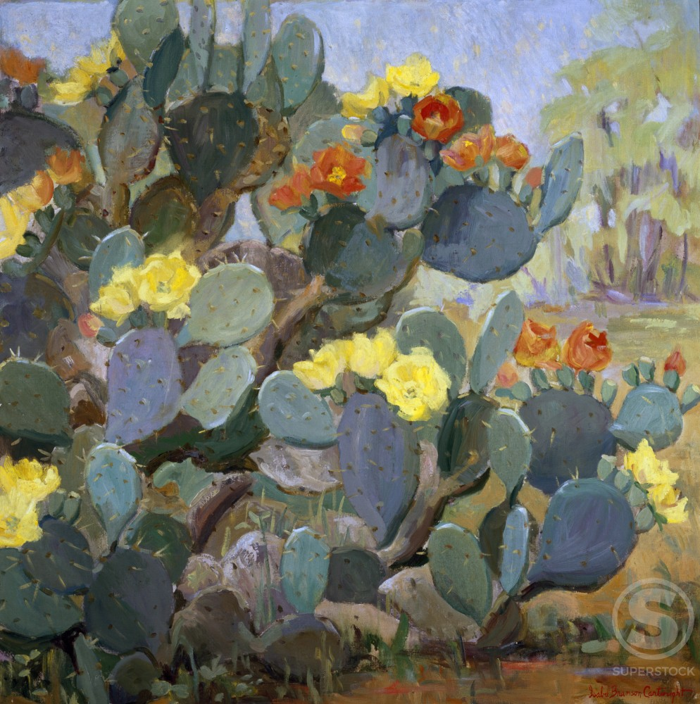 Prickly Pear by Isabel Bronson Cartwright, oil on canvas, b. 1885, Private collection : Stock Photo
