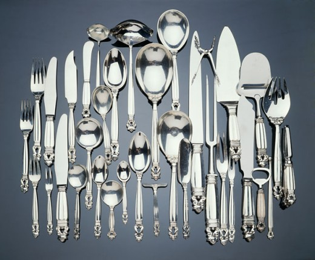 Stock Photo: 1010-15043 Georg Jensen Acorn Sterling Silver Pattern Flatware Service Antiques