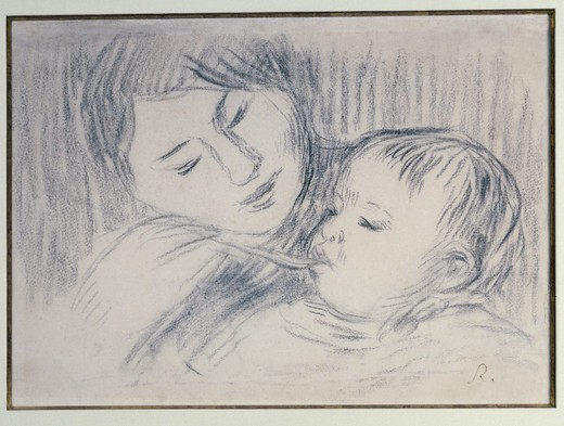 La Nourriture by Pierre Auguste Renoir, charcoal drawing, 1893, 1841-1919 : Stock Photo