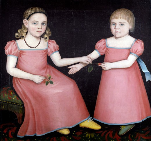 Portrait of Mary Jane and Her Little Brother by Ammi Phillips, 1787/8-1865 : Stock Photo