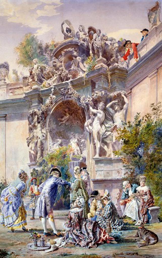Stock Photo: 1010-15281 Garden Party by Belisario Gioja, watercolor, 1820-1906
