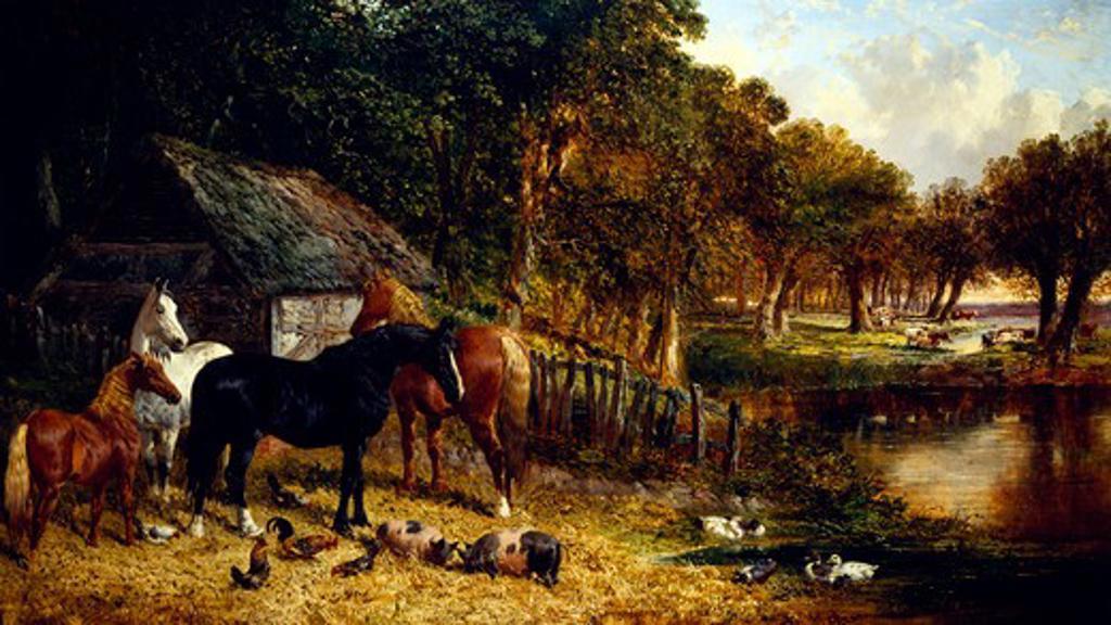 Stock Photo: 1010-15325 Fenland Farm by John Frederick Herring Jr, Oil on canvas, 1815-1907