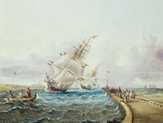 Stock Photo: 1010-15330 Square Rigged Ships off Jetty James E. Buttersworth (1817-1894 American)