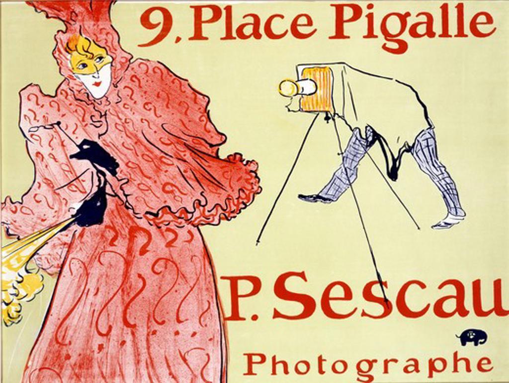 P. Sescau, Photographer by Henri de Toulouse-Lautrec, illustration, 1894-95, 1864-1901 : Stock Photo