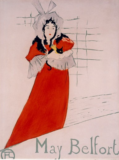 May Belfort by Henri de Toulouse-Lautrec, Lithograph, 1895, 1864-1901, France, Albi, Musee Toulouse-Lautrec : Stock Photo