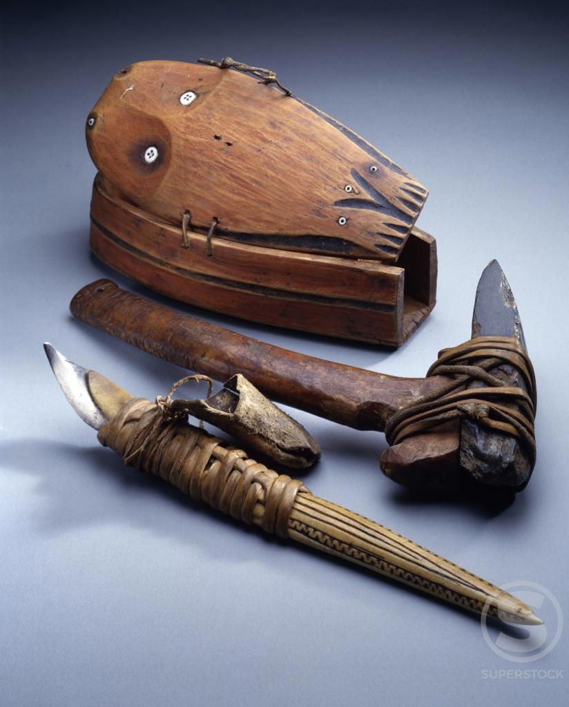Stock Photo: 1010-15533 Man's Box, Adze and Curved Knife, (Kepun and Cavik), Eskimo Art, USA, Washington DC, Smithsonian Institution (National Museum of Natural History)