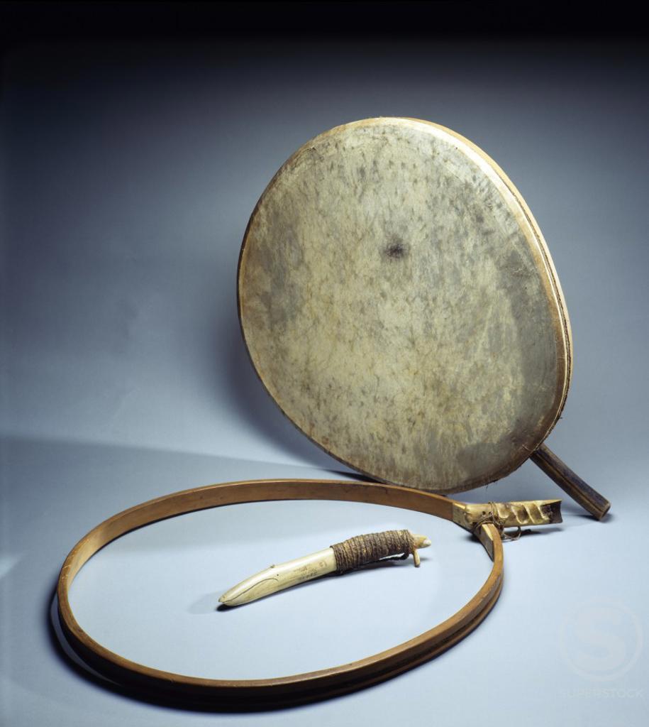 Stock Photo: 1010-15544 Musical Instruments, Eskimo Art, USA, Washington DC, Smithsonian Institution (National Museum of Natural History)