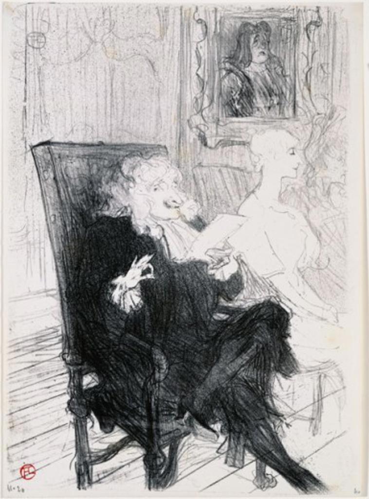 Truffier et Moreno dans les Femmes Savantes  1893 Henri de Toulouse-Lautrec (1864-1901 French) Lithograph  : Stock Photo