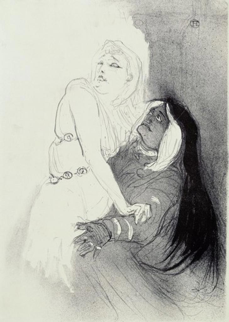 Stock Photo: 1010-15563 A La Renaissance: Sarah Bernhardt dans Phedre by Henri de Toulouse-Lautrec, 1864-1901