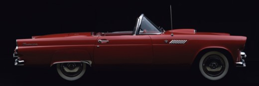 Side profile of a car, 1955 Ford Thunderbird : Stock Photo