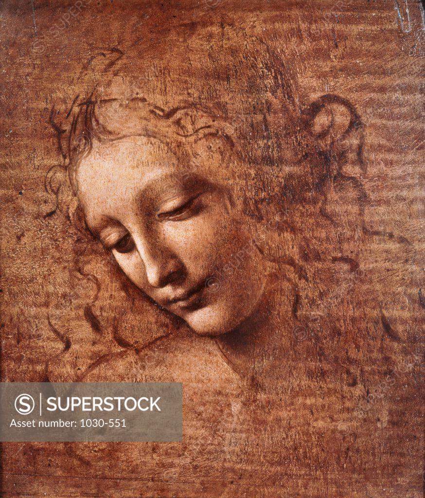 Stock Photo: 1030-551 Head of Dishevelled Young Girl  (Leda) Leonardo da Vinci (1452-1519/Italian) Gouache National Gallery, Parma, Italy