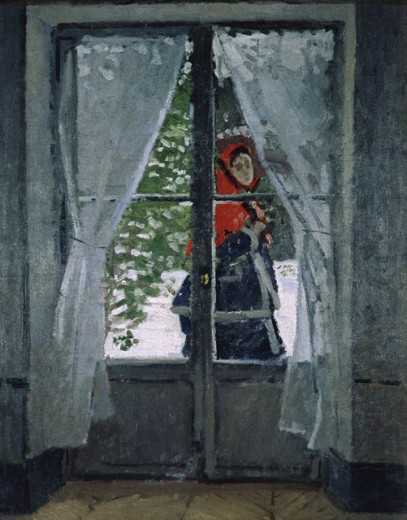 The Red Bonnet.  Madame Monet. 