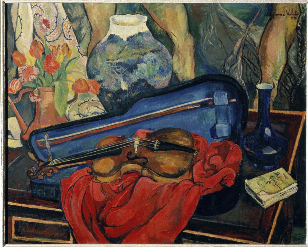 Stock Photo: 1030-1010 The Violin Box  (La Boite a Violin)  1923 Suzanne Valadon (1867-1938/French)  Oil on canvas Museum of Modern Art, Paris