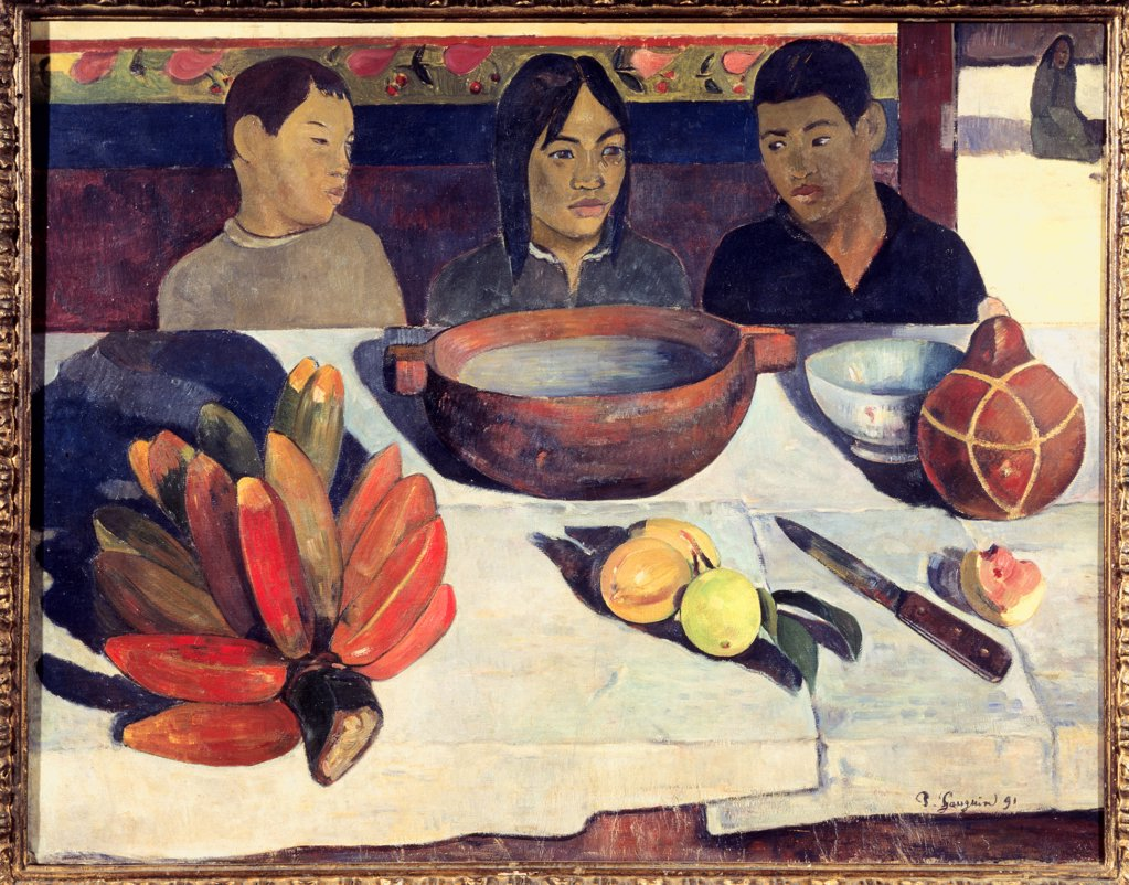 The Meal (The Bananas), 1891, Paul Gauguin (1848-1903 French), Oil on canvas, Musee d'Orsay, Paris, France : Stock Photo