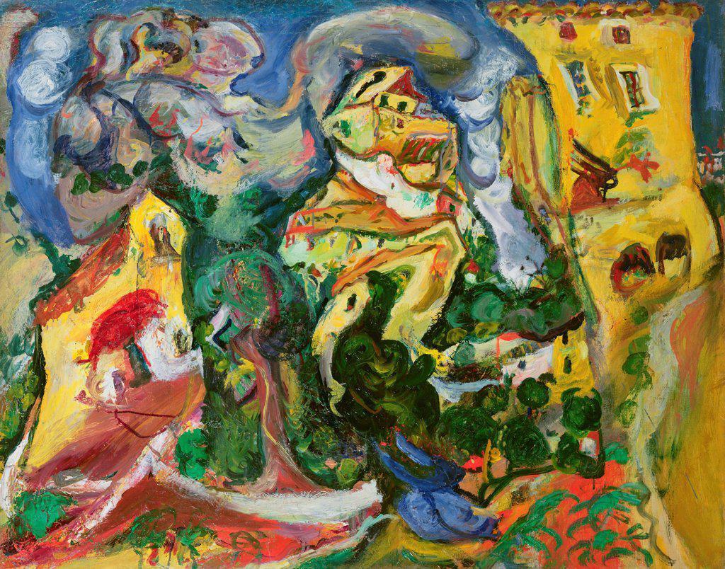 Stock Photo: 1030-1134 Village 1923 Chaim Soutine (1893-1943 Russian) Oil on canvas Musee de L'Orangerie, Paris, France