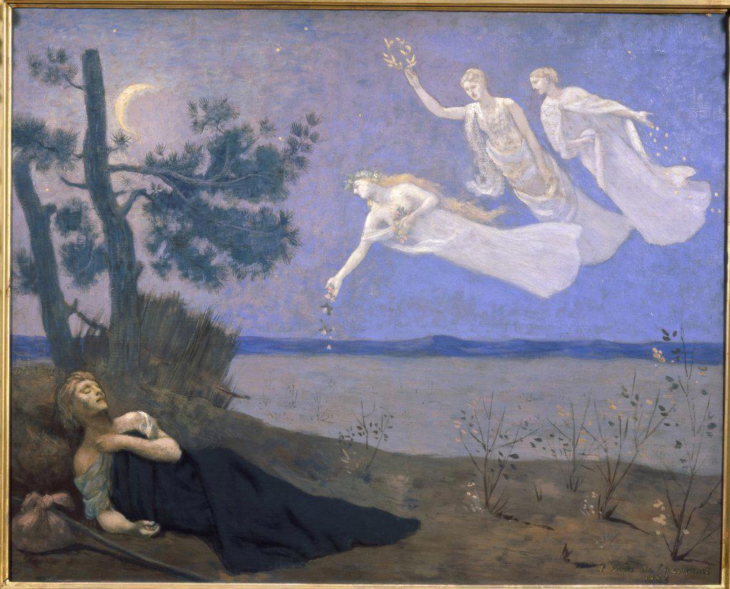 Stock Photo: 1030-1150 The Dream 1883 Pierre Puvis de Chavannes (1824-1898/ French) Musee d'Orsay, Paris