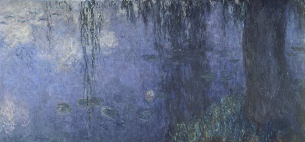 Stock Photo: 1030-116 Water Lilies, Morning with Willows (Left Side) 
