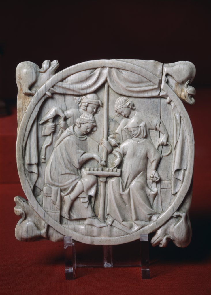 Stock Photo: 1030-1293 Valve De Miroir. Le Jeu D'echecs. Mirror Valve. The Game Of Chess. 1st Part 1400's Artist Unknown Ivory Relief Musee du Louvre, Paris, France