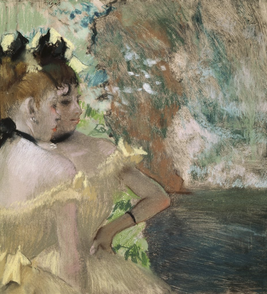 Stock Photo: 1030-131 Dancers Backstage Edgar Degas (1834-1917 French) Pastel Private Collection