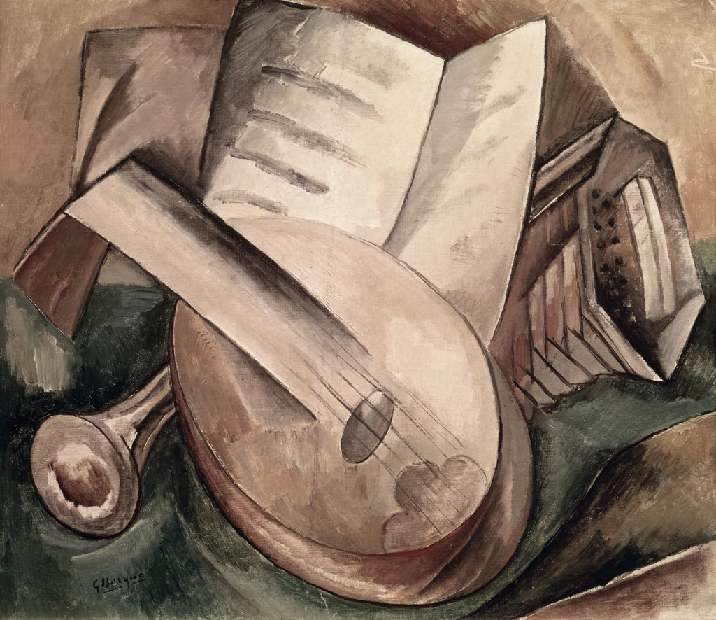 Stock Photo: 1030-1402 Instruments De Musique Musical Instruments S.D.1908 Georges Braque (1882-1963 French) Oil On Canvas Private Collection