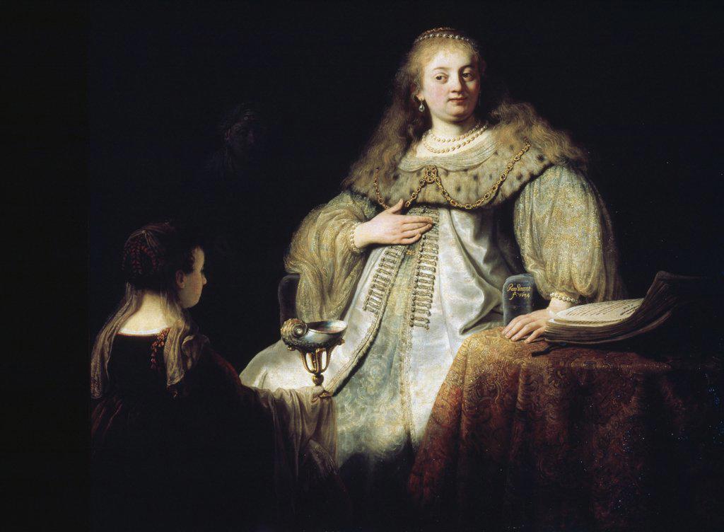 Stock Photo: 1030-1444 Artemisia (Wife of Mausolus) 1634 Rembrandt Harmensz van Rijn (1606-1669 Dutch)  Oil on canvas Museo del Prado, Madrid