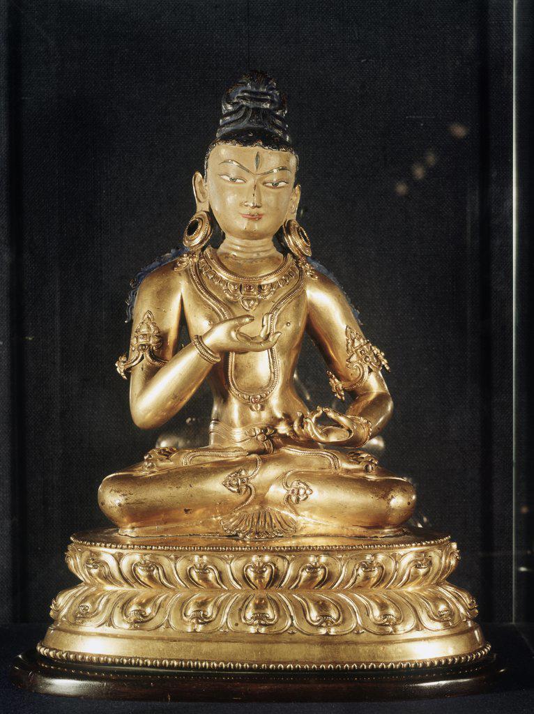 Stock Photo: 1030-1457 Adibuddha Vajrasattva 1500-1600's, Bronze Sculpture Artist Unknown Tibetan Farahnick Collection, Brussels