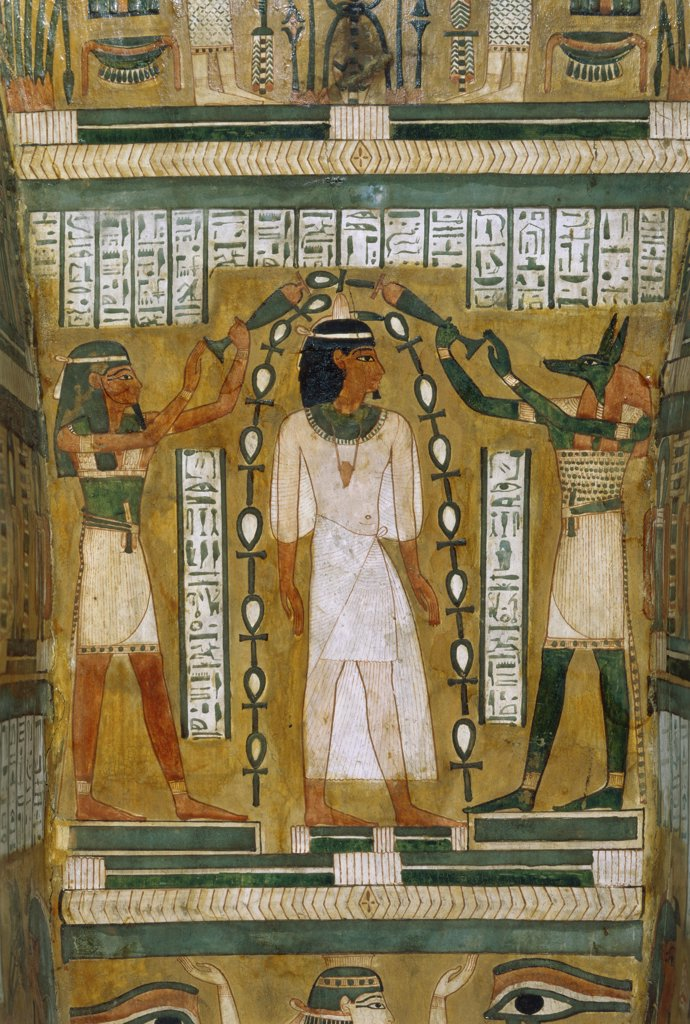 Stock Photo: 1030-1601 Interior of a Sarcophagus: The Deceased Annubis, The Goddess Mait 