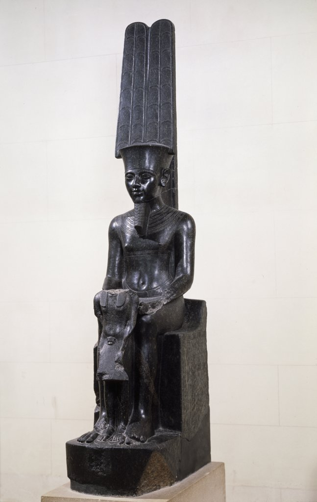 Stock Photo: 1030-1605 The God Amon Protecting Tutankhamen Egyptian Art Musee du Louvre, Paris