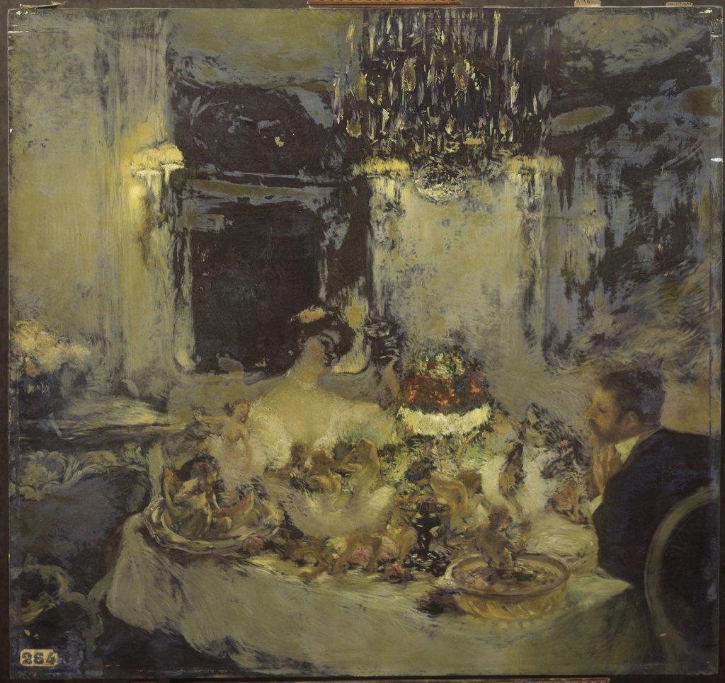 The Champagne  (Le Champagne)  Gaston de Latouche (1854-1913/French)  Oil on canvas Musee des Beaux-Arts, Rouen   : Stock Photo