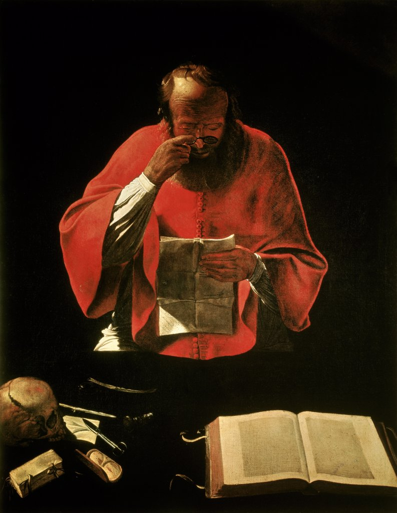 Stock Photo: 1030-1720 Saint Jerome Reading Georges de La Tour (1593-1652 French) Musee du Louvre, Paris