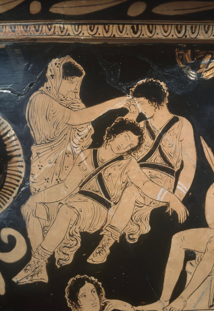 Stock Photo: 1030-1760 Bell Krater. Purification of Oreste at Delphes. Detail: The Sleeping Erynnies. 