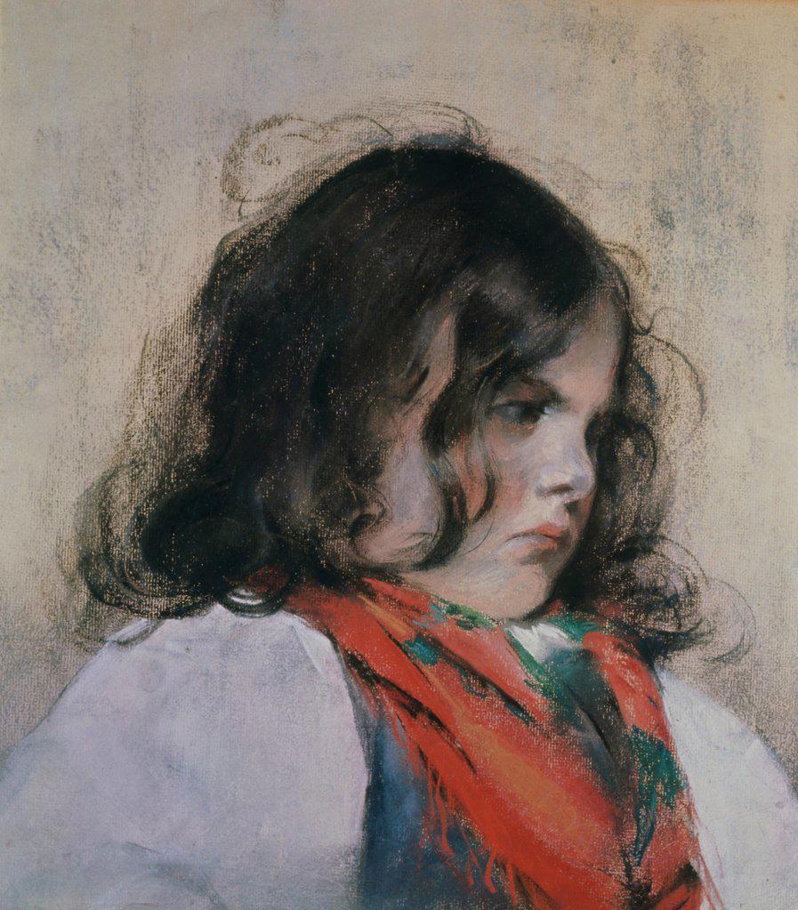 Stock Photo: 1030-239 Head of a Child Mary Cassatt (1845-1926/American) Pastel United States of America