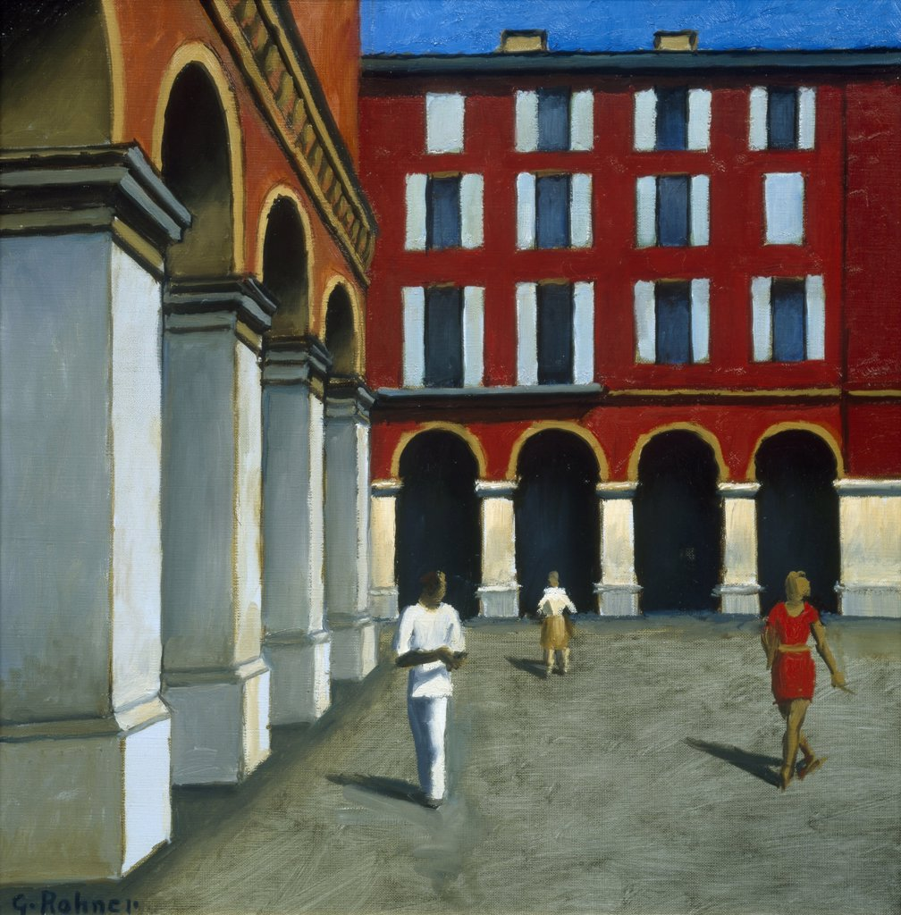 Stock Photo: 1030-337 Nice, Massena Place No. 2  1992 Georges Rohner (b. 1913/French)  Oil on Canvas  Private Collection