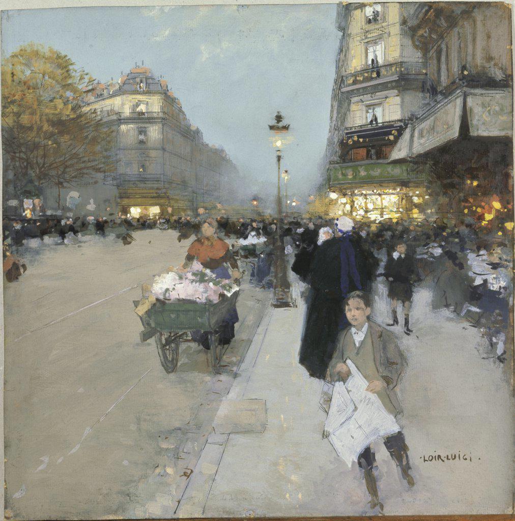 Urban Landscape Luigi Loir (1845-1916 French)  Gouache on board Musee des Beaux-Arts, Rouen, France : Stock Photo