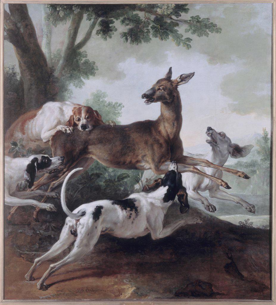 Stock Photo: 1030-368 Deer Pursued by Dogs  (Chevreuil poursuivi par des chiens)  1725  Jean-Baptiste Oudry (1686-1755/French)  Musee des Beaux-Arts, Rouen